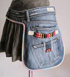 either a work belt or a side purse...from old jeans