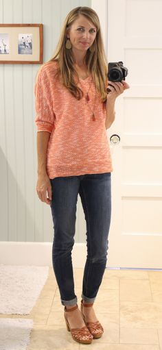 stitch fix top (though I don't love the color) tassel necklaces, cuffed jeans, heeled sandals love her laid back style!