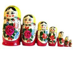 Semionov Matryoshka Doll is painted in Semionovo style