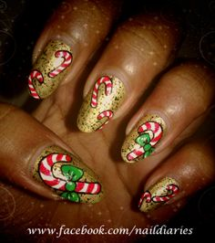 Candy cane inspired nail art <3 be sure to check out Nail Diaries on Facebook