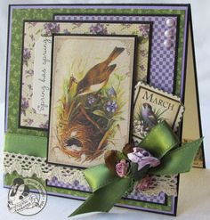 Heartwarming G45 Craft Ideas For Cold Winter Days - Graphic 45® Love this card.... Greens and purples