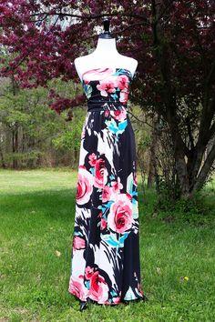 Black Floral Pattern Strapless Maxi Dress