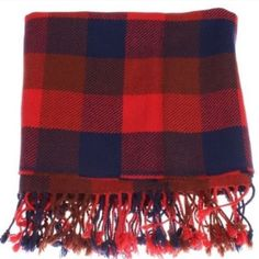 💯COACH Plaid Scarf Color: Red, Brown, Blue                                                                       Large size - 67 x 20 inches Thick and warm Leather Coach tag Fringed design.                                                             Material: 38% rayon/ 34% nylon/ 23% wool/ 5% cashmere Coach Accessories Scarves & Wraps