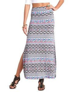 aztec print double slit maxi skirt
