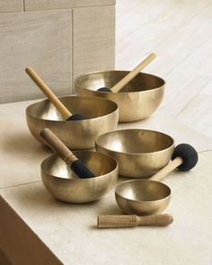 """Singing bowl creates the sound vibrations that systematically cleanse the energies of the living space. You can actually feel the energy of the home becoming lighter and happier (Donna Karan Home """"Singing"""" Bowls)"""