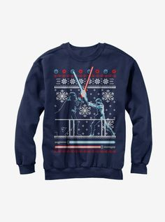 Star Wars Ugly Christmas Sweater Duel Womens Graphic Sweatshirt Made by Sun Color Blue. Printed in the U. Printed With Eco-Friendly Inks. Fifth Sun. Slim Fit - Please Refer to Size Chart Star Wars Christmas Sweater, Ugly Christmas Sweater Women, Christmas Sweaters, Christmas Gifts, Christmas Fashion, Christmas 2016, Merry Christmas, Gold T Shirts, Fleece Sweater