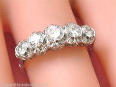 Vintage 1 1ctw Transient Transitional Diamond Platinum Classic 5 Stone Ring 1950 www.MelsAntiqueJewelry.com FINEST ANTIQUE JEWELRY