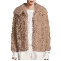Rebecca Taylor Faux Fur Jacket ($695) ❤ liked on Polyvore featuring outerwear, jackets, caramel, open front jacket, brown faux fur jacket, rebecca taylor jacket, fake fur jacket and faux fur jacket