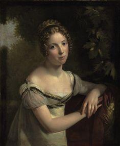 Circle of François Pascal Simon Gérard (French, 1770–1837), Portrait de femme dans un parc , 1812