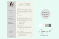 Giulia Rossi Resume Template + Cover by PAPPERMINT on @creativemarket
