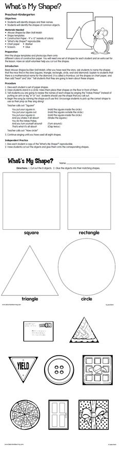 7 Preschool Math Lesson Plans What s My Shape Lesson Plan from Lakeshore Learning √ Preschool Math Lesson Plans . What S My Shape Lesson Plan From Lakeshore Learning in Preschool Worksheets Teaching Shapes, Teaching Math, Preschool Math, Preschool Worksheets, Maths, Kindergarten Lessons, Math Lessons, Geometry Lessons, Lakeshore Learning