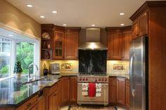 Oak Kitchen Cabinet Glass Doors | Show me your 45 degree corner cabinets please. - Kitchens Forum ...