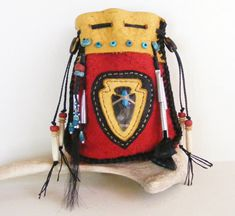 THE HUNT Buffalo leather Medicine Bag / Spirit Pouch with Buffalo hair, Deer Dew Claws, turquoise, Jingle Cones
