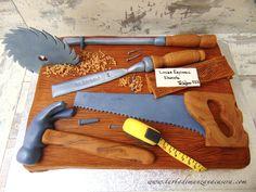 Tarta de carpintero y herramientas en fondant-Tools carpenter fondant cake