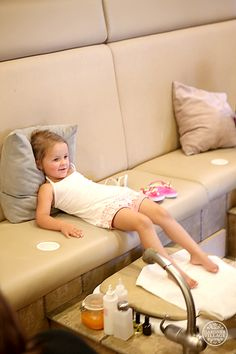 Someone looks comfortable. :) There are tons of fun options at Gardner Village, starting with a fun pedicure party at Cottage Retreat Spa.