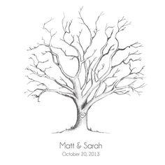 Thumbprint Tree Template | Wedding Diy Fingerprint Tree Template To Download Print