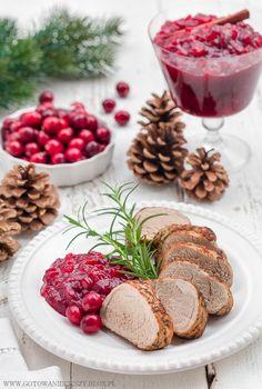 Pork Tenderloin with Cranberry Sauce Polish Recipes, Polish Food, Christmas Cooking, Christmas Recipes, Cranberry Sauce, Pork Recipes, Panna Cotta, Healthy, Ethnic Recipes