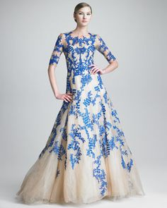 Three-Quarter-Sleeve Tulle/Lace Gown by Monique Lhuillier at Bergdorf Goodman.