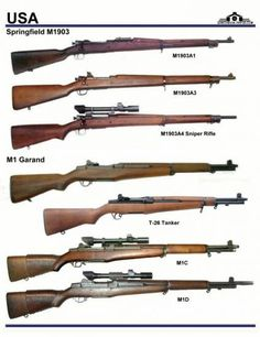 США: Springfield M 1903, M1 Garand, T-26, M1C, M1D