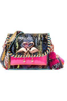 SOPHIA WEBSTER Claudie embellished elaphe and neon leather shoulder bag