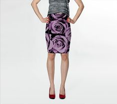 MAUVE ROSES  Fitted Skirt   A-Line       S-M-L-XL  by JUST3Js