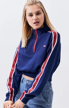 The Mock Neck Cropped Sweatshirt from Tommy Hilfiger is ready for adventure when you are. This cozy pullover features a mock neckline with half-zip front, logo taped long sleeves, and a cropped fit. Tommy Hilfiger Outfit, Tommy Hilfiger Sweatshirt, Tommy Hilfiger Jackets, Tommy Hilfiger Women, Kids Outfits, Cute Outfits, Crop Top Outfits, Lifestyle Clothing, Daily Fashion