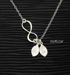 Personalized Sideways Infinity Leaf Necklace