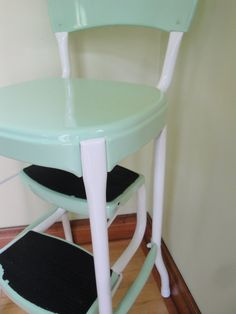 Vintage Restored Cosco Kitchen Step Stool Retro Mint Green White