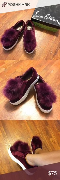 Sam Edelman Leya Velvet Fur Sneaker Cute sneakers with fur ball details and 1-inch platform. Very comfortable! Fits true to size. Color is labeled wine velvet, similar to maroon. Comes with box. Never worn and needs some love. Sam Edelman Shoes Sneakers