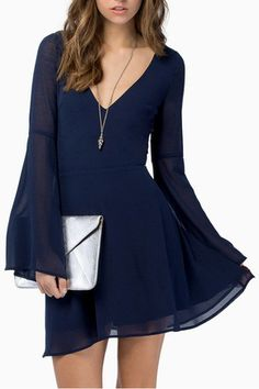 Elegant navy trumpet sleeve dress which comes with chiffon overlay with partial lining and a v-neckline for a charming look and feel. Navy Chiffon Dress, Long Sleeve Chiffon Dress, Sleeve Dresses, Bell Sleeve Dress, White Chiffon, Chiffon Skirt, Cheap Dresses, Casual Dresses, Short Dresses
