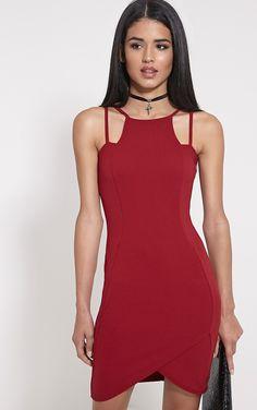 Ashleigh Burgundy Crepe Curved Hem Mini Dres-14, Red