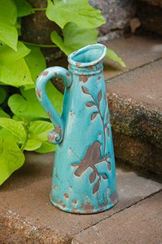 French Country Shabby Robin Egg Blue Bird Vine Pottery Pitcher Crock Vase Chic #FrenchCountry