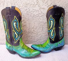 Hand Painted Vintage Nocona Snake Skin Cowboy Boots 8 5 Lots of Detail Good | eBay