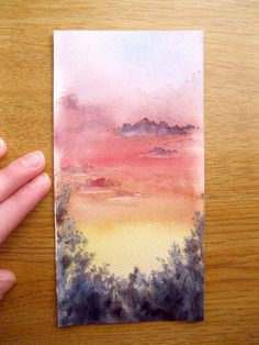 Skyscape  Miniature Watercolor Painting by TheTinyPainting on Etsy, $7.99