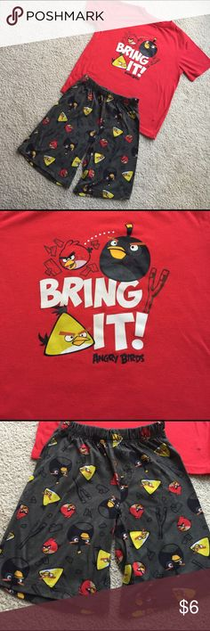 Boys Angry Bird Short Pajamas by Collectabilitees Comfy short pajama set by Collectabilitees (Old Navy) featuring Angry Birds screen print on front of tee and fabric for shorts. Small dark stains at bottom left hip on tee, minor cracking on screen print and some pulling (see photo), but otherwise good and priced accordingly. Size M (8). Check out my closet for more boys' clothes- bundle and save! Old Navy Pajamas Pajama Sets