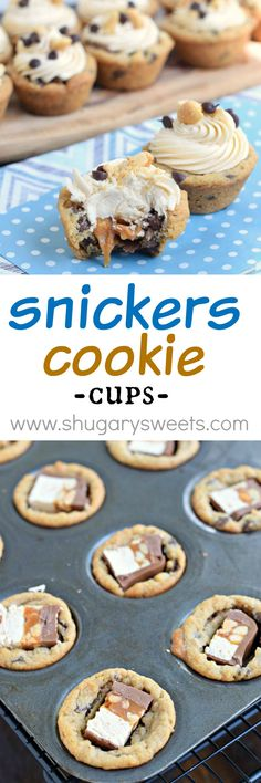 These easy and delicious Snickers Cookie Cups start with refrigerated cookie dough and candy bars. Topped with a sweet caramel frosting, they are sure to be a hit!