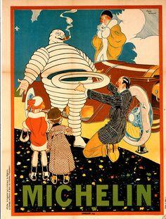 Bibendum, le bonhomme Michelin -  affiche1914 - Michelin vintage advertisement