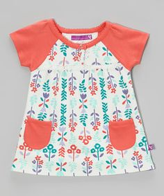 Look what I found on #zulily! Bloom & Petal Coral & Sea Foam Floral Dress - Infant by Bloom & Petal #zulilyfinds