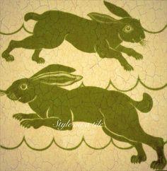 Lovely William De Morgan Green Brown Beige Rabbit Hare design