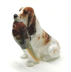 Collectible-Royal-Doulton-Bone-Of-China-Ornament-Cocker-Spaniel-with-pheasant Royal Doulton, Pheasant, Cocker Spaniel, Bones, Pottery, China, Ornaments, Animals, Vintage