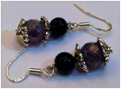 Hearts, marbled crystal and black glass pearls dangle earrings. on Etsy, $13.00