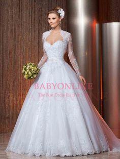 Modest vestido de baile querida vestidos de noiva 2016 de casamento branco rendas princesa vestido com mangas compridas Jacket