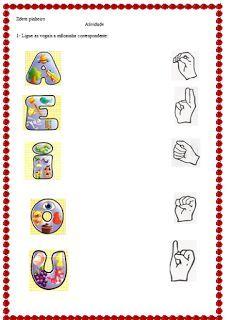 POR AMOR: Atividade em Libras: tradução Libras X Português Lettering, Education, Paris, Summer, Letter C Activities, Abc Centers, Reading Activities, Language Activities, First Week Activities