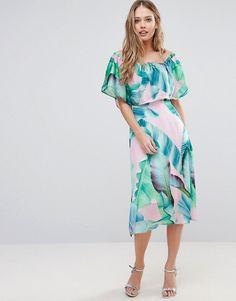 Every Cloud | Every Cloud Palm Print Bardot Midi Dress