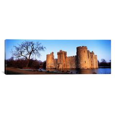 East Urban Home Panoramic Moat Around a Castle, Bodiam Castle, East Sussex, England Photographic Print on Canvas Size: