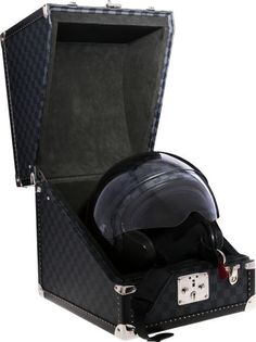 """Luxury Accessories:Accessories, Louis Vuitton Limited Edition Damier Graphite Motorcycle Helmet& Hardsided Case . Very Good Condition. Helmet: 6""""Wid... Image #1"""