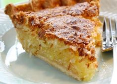 French Coconut Pie (Found on Tasty Kitchen) 3 whole eggs, beaten 1 cups sugar 1 cup flaked coconut 1 stick butter, melted & cooled 1 tablespoon white vinegar 1 teaspoon vanilla extract 1 pinch salt 1 whole unbaked pie shell Pie Recipes, Sweet Recipes, Dessert Recipes, Amish Recipes, Healthy Recipes, Baking Recipes, Tasty Kitchen, Kitchen Recipes, Pie Dessert