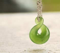 Jade Necklace - Green Nephrite Jade - Twisted Lucky 8 - Infinity Symbol on Etsy, $85.00