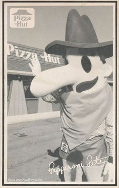 Pizza Hut mascot Pepperoni Pete, 1969-1974.  Yeah, for real!