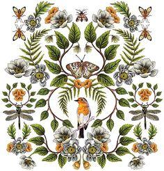 """Spring Reflection - Floral/Botanical Pattern w/ Birds, Moths, Dragonflies & Flowers"" Photographic Prints by somecallmebeth Motif Floral, Floral Prints, Framed Prints, Canvas Prints, Art Prints, Flower Shower Curtain, Unique Poster, Illustrations, Botanical Illustration"